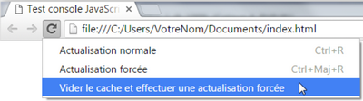 Modes d'actualisationn sous Chrome