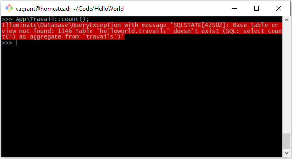 Table 'helloworld.travails' doesn't exist